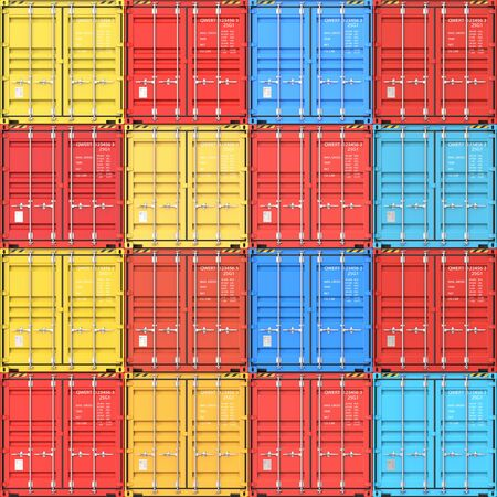 Stacks of cargo containers at the docks from Cargo freight ship as a concept of import, export and logistic. 3d rendering Illustration seamless texture background