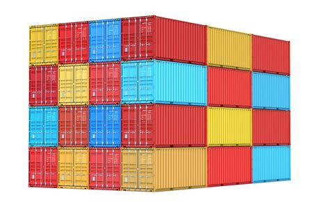 Stacks of colorful sea cargo containers at the docks as a concept of import, export and logistic. 3d rendering Illustration of a shipping contaners Isolated on white background. Фото со стока