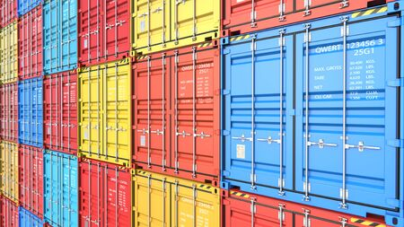 Stacks of containers at the docks from Cargo freight ship for import export. 3d rendering Illustration background Фото со стока