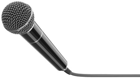 Wired microphone as a concept for karaoke, radio broadcasting and sound recording. 3D rendering illustration of a black mic with cable isolated on a white background