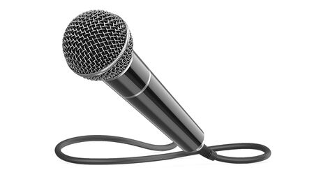 Classic wired microphone as a concept for karaoke, radio broadcasting and sound recording. 3D rendering illustration of a black mic with cable isolated on a white background