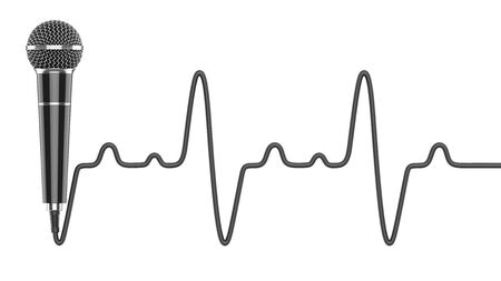 Microphone with wire in the shape of heartbeat cardiogram as a concept of love for music. 3D rendering illustration of a black wired mic isolated on a white background