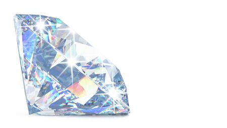 Side view of Cut diamond with shadow and glowing lens flares with copy space. 3D rendering illustration of sparkling light round brilliant diamond isolated on white background