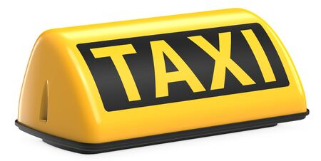 New York City style taxi sign for cab Isolated on white background. 3d rendering Illustration of Yellow Taxi sign on automobile roof. Фото со стока