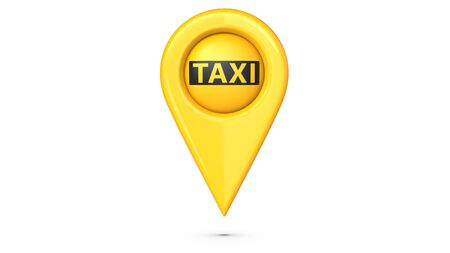 Pin map place location with the word taxi. 3d rendering Illustration Isolated on white background.