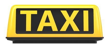 3d rendering Illustration of New York City style taxi sign for cab Isolated on white background. Front view of Yellow Taxi sign on automobile roof.