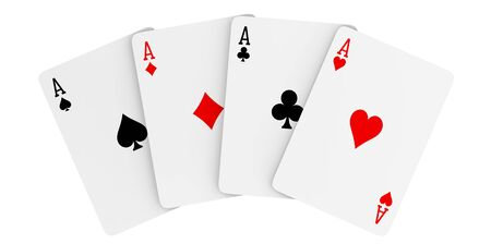 A fan of playing cards consisting of four Ace of Spades, Diamonds, Clubs, Hearts. 3d rendering Illustration of all the aces Isolated on white background