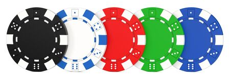 Colored casino chips in a row. 3D rendering illustration of poker chips isolated on white background.