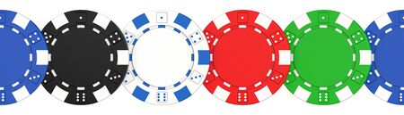 Colored casino chips seamless pattern isolated on white background. 3D rendering illustration of poker chips. Фото со стока