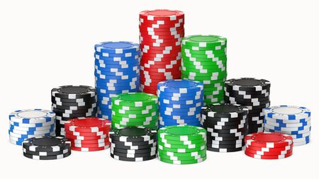 A set of poker chips stack isolated on white background. 3D rendering illustration of poker chips as risk concept - playing poker or roulette in casino. Фото со стока
