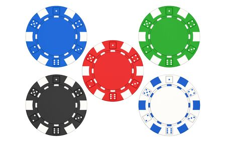 3D rendering illustration of five poker chips isolated on white background. A set of casino chips isolated on white background.