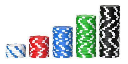 3D rendering illustration of poker chips stocks as a big win concept. Colored casino chips isolated on white background Фото со стока