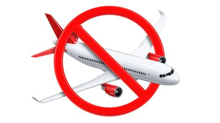 The plane on the prohibition sign the concept of closing borders and the suspension of flights. 3d rendering Illustration of Airliner on the stop sign due to the pandemic of the coronovirus COVID-19