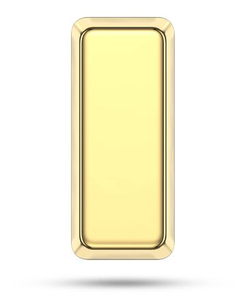Side view of gold bar with shadow. 3D rendering illustration of golden bullion without text isolated on white background