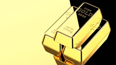 3D rendering illustration of three gold bars on a golden surface with black reflection. Stack of gold bullions as business financial banking concept background with copy space Фото со стока