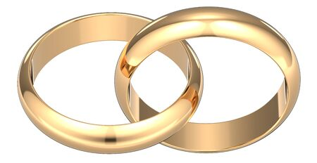 3D rendering illustration of Two golden wedding rings connected like chain links on an isolated white background symbolizing marriage Фото со стока