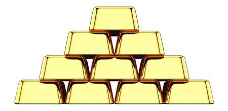 Front view of Stack of gold bullions isolated on white background. 3D rendering illustration of Gold Bars stacked in the shape of pyramid as a investments financial banking concept. Фото со стока