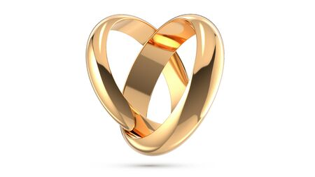 3D rendering illustration of Heart-shaped wedding rings as a symbol of marriage and wedding isolated white background.