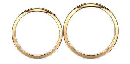 Two golden wedding rings isolated on white, wedding rings background concept. 3D rendering illustration.