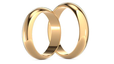 3D rendering illustration of Two golden wedding rings isolated on white. Wedding and marriage concept.