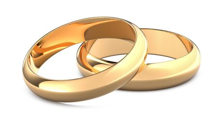Two golden weddings rings as a symbol of marriage and wedding. 3D rendering illustration of gold rings isolated white background.
