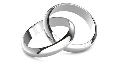 3D rendering illustration of Two white gold or silver wedding rings connected like chain links on an isolated white background symbolizing marriage