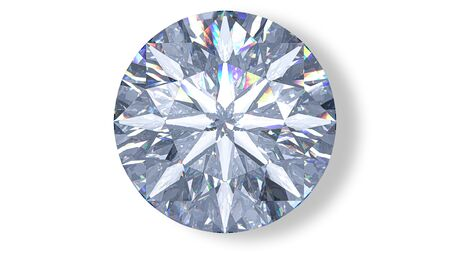 Realistic cut diamond in top view with caustic. 3D rendering illustration of round brilliant isolated on white background.
