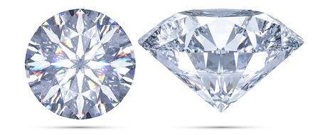 Set of Sparkling light round brilliant cut diamond with shadow top view and front view. 3D rendering illustration isolated on white background.