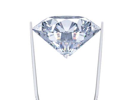 Diamond on white background held in diamond tweezers. 3d rendering illustration isolated