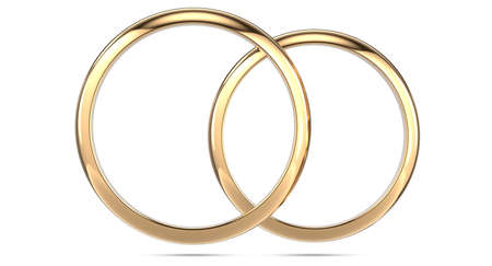 3d rendering illustration of two wedding rings isolated on white background. Top view of a pair of gold rings Фото со стока