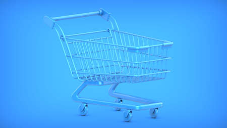 3D rendering illustration of a Blue Shopping Cart Trolley on a blue background. Фото со стока