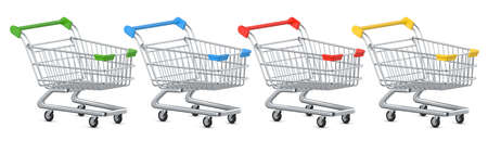 Set of colored Shopping Carts and Trolleys. 3D rendering illustration isolated on white background Фото со стока