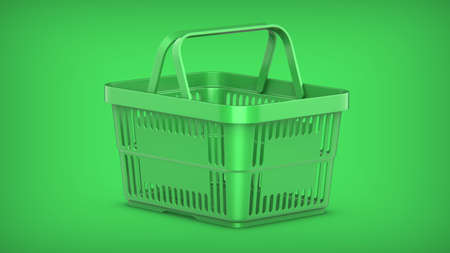 3D rendering illustration of a Green Plastic Shopping Basket on a green background.