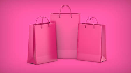 3D rendering illustration of Pink Paper Shopping Bags on a pink background. Фото со стока