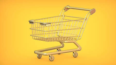 3D rendering illustration of a gold Shopping Cart Trolley on a yellow background. Фото со стока