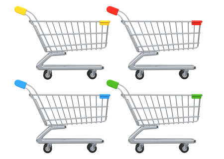 Side view of Set of colored Shopping Carts and Trolleys. 3D rendering illustration isolated on white background