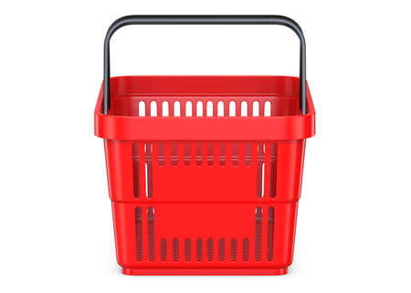 Front view of a Red empty customer plastic shopping basket. 3d rendering illustration isolated on white background. Фото со стока