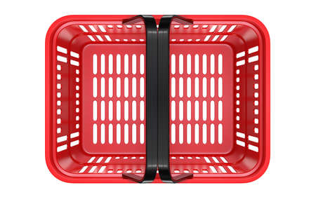 Top view of a Red empty customer plastic shopping basket. 3d rendering illustration isolated on white background.