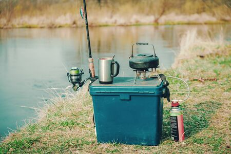 Coffee is made on fishing, on a gas burner.