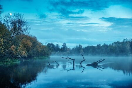 Quiet evening on the autumn river.