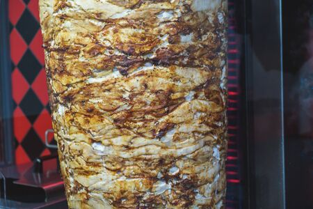 The meat is cooked for shawarma.