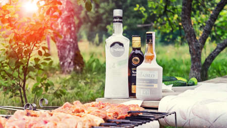 Belarus. Minsk region. July - 2017.2017: Alcohol and meat. Picnic in the village. Belarusian alcohol - vodka