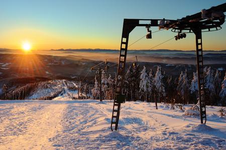january sunrise: Lysa hora, Czech Republic - January 30, 2011: sunrise from hill Lysa hora