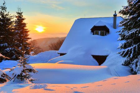 january sunrise: Beskydy, Czech Republic - January 29, 2012: sunrise from hill Ostry