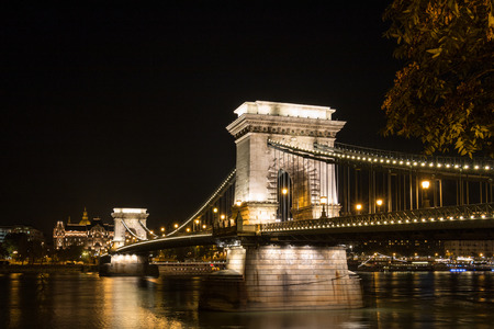 citytrip: The famous Chain Bridge in budapest Hungary at night time