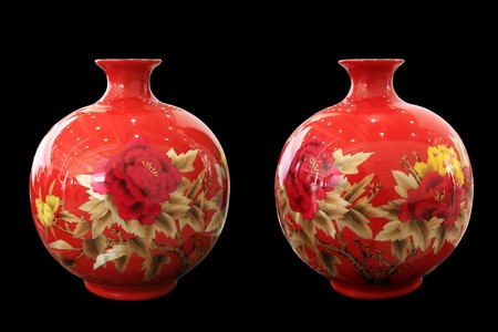 est: an red china vase on show