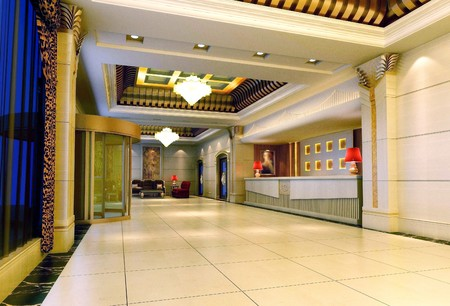 space area: Modern design interior of reception hall. 3D render