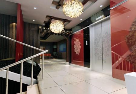 엘리베이터 로비의 현대적인 디자인 인테리어입니다. 3D 렌더링 스톡 콘텐츠