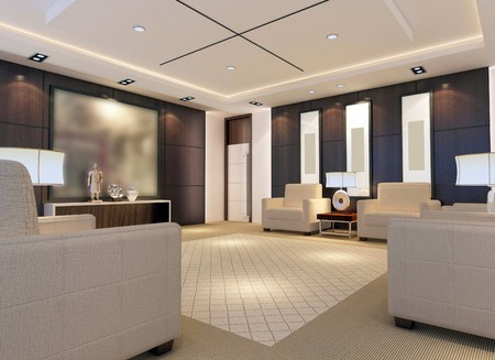 reception hotel: a reception room.3d render Stock Photo