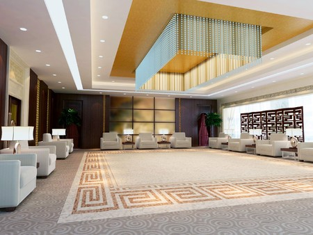 a large reception room.3d render